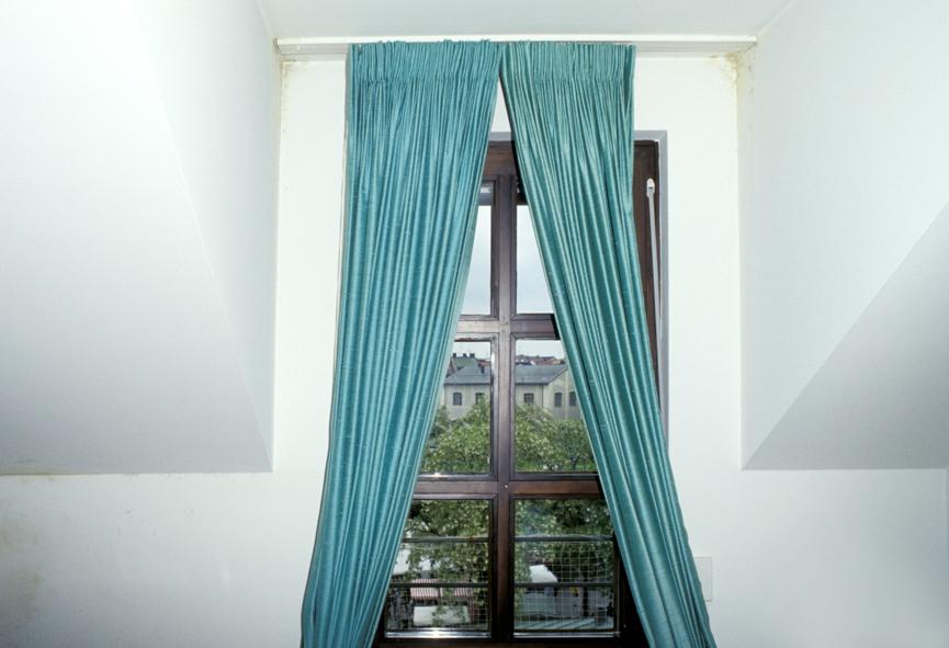 Schimmelpilze hinter dem vorhang eines schlafzimmers